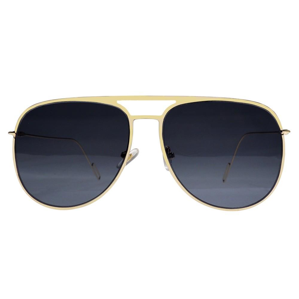 d829dbe87d Montura metálica de doble puente dorada estilo aviador con lentes de sol  color gris con protección UV. Ideal para todo tipo de rostro y para todas  las ...